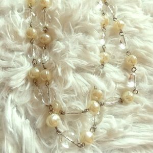 Pearl and Clear Long Beaded Necklace